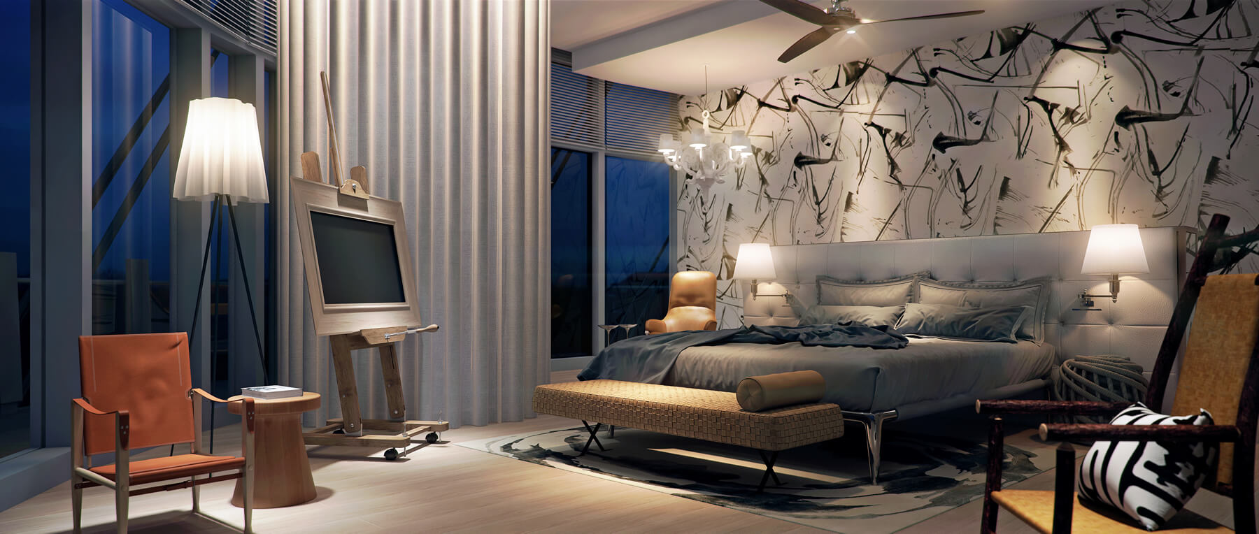 Nature Style Bedroom of Sapphire Residences