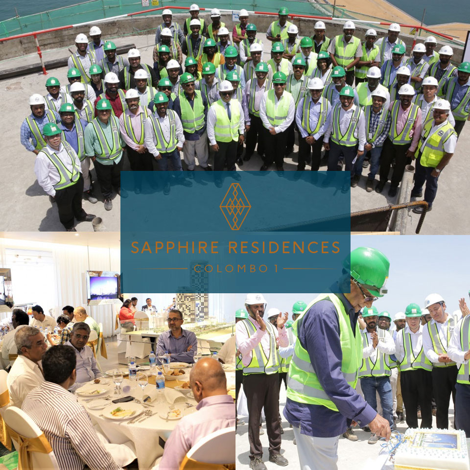 Images of the topping out ceremony of Sapphire towers